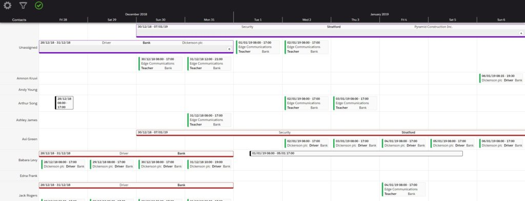 Isimio scheduler for staffing.